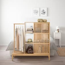 nordkisa open wardrobe with sliding door bamboo width 47