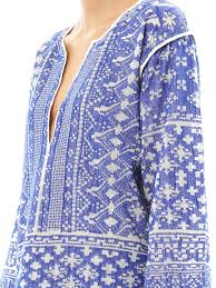 étoile isabel marant barber embroidered cotton tunic in blue lyst