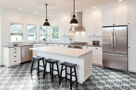 neo ii patterned concrete tile creating a beautiful kitchen