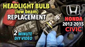 honda civic headlight bulb replacement 2012 2015 2 minute diy