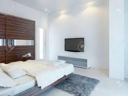 schlafzimmer mit tv und medienkonsole mit einem großen schiebetüren kleiderschrank mit spiegeleinsätzen möbel aus zebrano 3d übertragen
