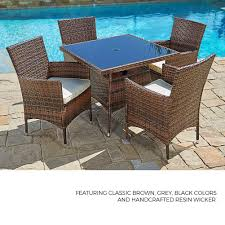 SUNCROWN Outdoor Furniture All-Weather Wicker Round Dining Table And Chairs  (5-Piece Set) Washable Cushions | Patio, Backyard, Porch, Garden, Poolside  ... Outdoor Wicker Chairs Table Cosco Malmo 4piece Brown Resin Patio Cversation Set With Blue Cushions Panama Pecan Alinum And 4 Pc Cushion Lounge Ding 59 X 33 In Slat Top Suncrown Fniture Glass 3piece Allweather Thick Durable Washable Covers Porch 3pc Chair End Details About Easy Care Two Natural Sorrento 5 Cast Woven Swivel Bar 48 Round Jeco Inc W00501rg Beachcroft 7 Piece By Signature Design Ashley At Becker World Love Seat And Coffee Belham Living Montauk Rocking