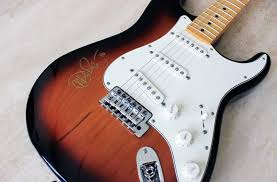 Sunburst Fender Stratocaster Guitar Signed At The Fillmore By John Mayer 2