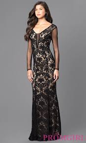 black and sleeved long lace prom dress promgirl