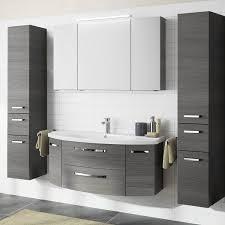badezimmer set fes 4010 in graphit struktur mit 120cm waschtisch spiegelschrank und 2 hochschränken b h t 211 200 48cm