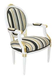 casa padrino barock salon stuhl weiß gold mehrfarbig 50 x 50 x h 105 cm gestreifter barock stuhl mit armlehnen barock möbel