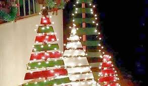 Diy Outdoor Wooden Pallet Christmas Trees With Lights Inspiration Of Tree Making Download By SizeHandphone