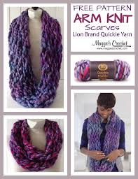arm knit scarf with lion brand quickie yarn crochet free