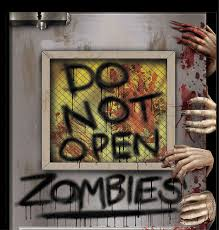 Cheap Animatronic Halloween Props by New Do Not Open Zombie Attack Laboratory Door Cover Mural Horror