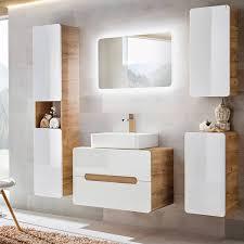 badezimmer set mit keramik waschtisch luton 56 hochglanz weiß mit wota