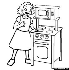 Play Kitchen Coloring Page