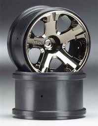 100 Truck Rims 4x4 Traxxas AllStar 28 Black Chrome Wheels Elec 2WD Fr FrR Nitro Rr