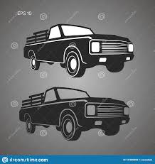 Vintage Pickup Truck Vector Illustration. Oldschool American Car ...