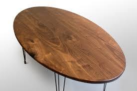 Right Closeup Walnut Oval Kitchen Table