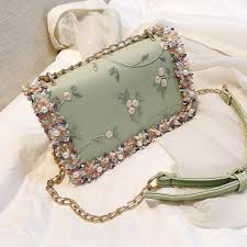 100 Small And Elegant Fresh Elegant Beaded Embroidered Female Slung Chain Shoulder Small Square Bag