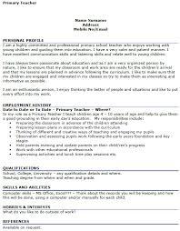 Primary Teacher CV Example