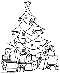 Coloring Page Christmas Tree And Many Presents