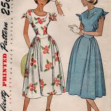 Retro 50s Tea Dress Simplicity Sewing Pattern Fitted Bodice Tie