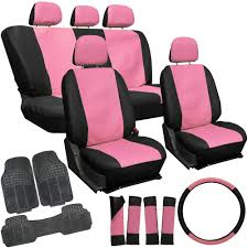 Oxgord Trim 4 Fit Floor Mats by Faux Leather Pink Black Seat Cover Set Rubber Floor Mats Car Suv