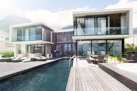 100 Modernhouse Modern House With Large Patio And Swimming Pool Stock Photo