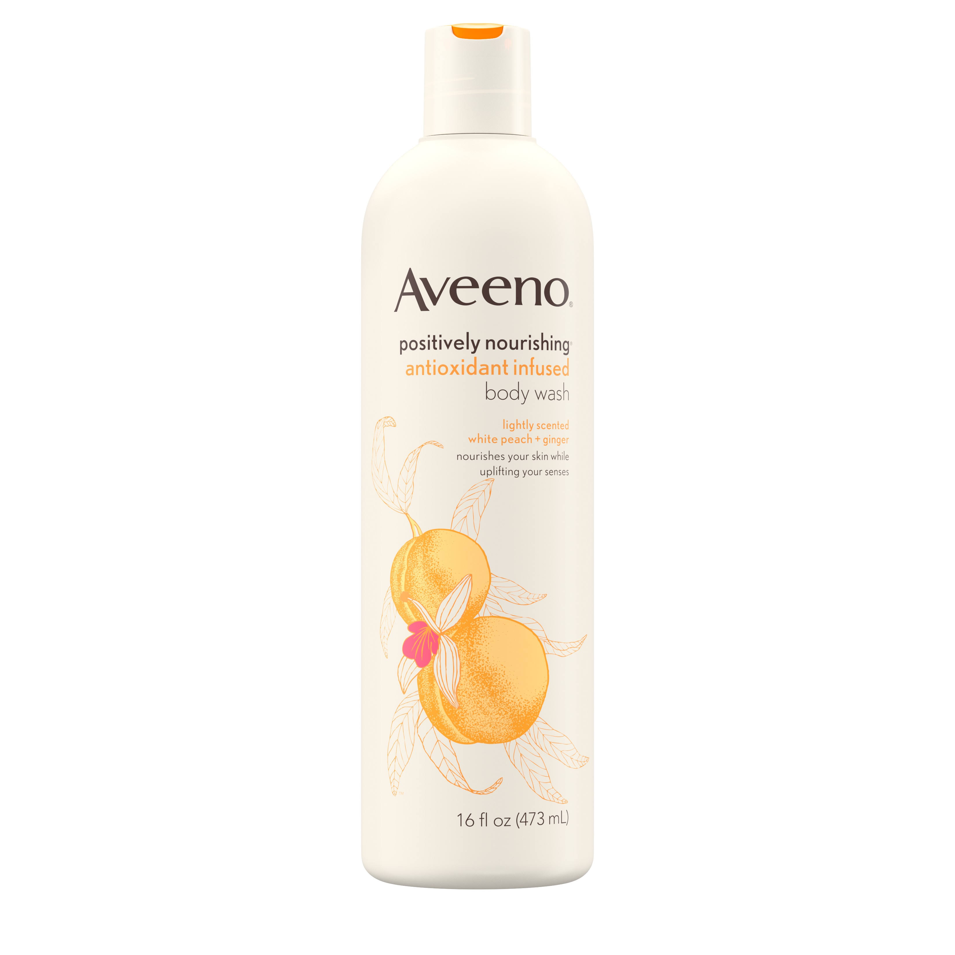 Aveeno Positively Nourishing Antioxidant - 473ml, White Peach And Ginger