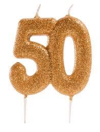 dekora kerze gold glitzer zahl 50