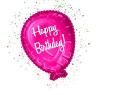 Pink Happy Birthday Balloon With Confetti