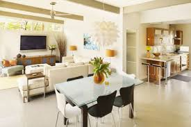 Bright Living Room And Dining Kitchen With Cream Walls