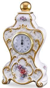 casa padrino barock tischuhr weiß gold mehrfarbig 17 x 12 x h 30 cm prunkvolle barock keramik uhr mit blumen design