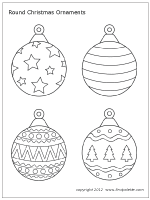 Round Christmas Tree Ornament Set 2