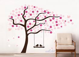 Tree Wall Decals Nursery Cherry Stencils Pink