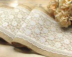 Vintage Wedding Table Runner Ivory Lace Burlap Overlay Rustic Decor