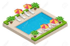 Swimming Pool Parasol Umbrella Beach Chairs Flat
