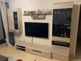wohnwand wohnzimmer möbel tv wand holz eiche hell