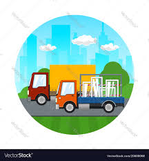 Icon Of Small Trucks Drive On The Road Royalty Free Vector