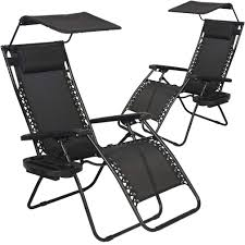 Factory Direct: 2 PCS Zero Gravity Chair Lounge Patio Chairs With Canopy  Cup Holder | Rakuten.com