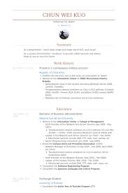 Private E 2 Compulsory Military Service Resume Samples Work Experience