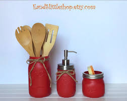 Red Mason Jar Kitchen Set Of 3 Wedding Gift Rustic Decor Housewarming Gifts