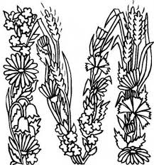 Alphabet Flowers Letter M Coloring Pages