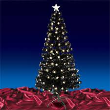 6ft 180cm christmas black fibre optic tree with warm white led