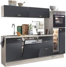 optifit küchenzeile cara ohne e geräte mit vollauszü und soft funktion breite 240 cm