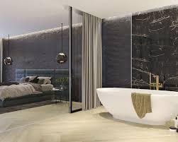 marmor und holz in einem exklusiven schlafzimmer mit