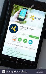 Avast antivirus & security app on an android tablet PC Dorset England UK