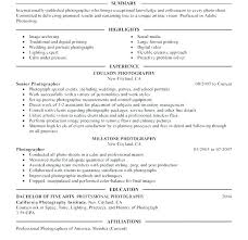 Photography Resume Examples Template Summary Photographer Competent Portray Senior Media And