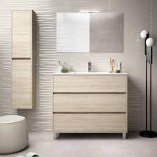 badezimmer badmöbel auf dem boden 100 cm aus braunem holz caledonia mit porzellan waschtisch