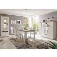 landhaus esszimmer set ferna 61 in pinie weiß und oslo dunkel nb inkl led ohne stühle b h t ca 300x201x44 cm