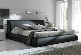 Black Leather Platform King Bed Frame With Headboard Decofurnish