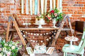 Decor Rustic Style Table Decorations Ideas Of Wood Brick Wall Dessert