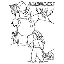 Snowmen And Sleds Coloring Page
