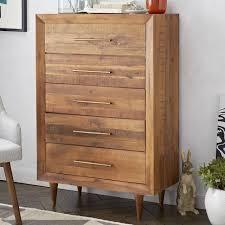 Alexa Reclaimed Wood 5 Drawer Dresser Honey